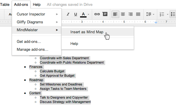 MindMeister For Google Docs MindMeister Help - Using google docs